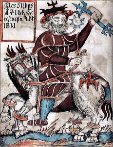 Odin chevauchant Sleipnir, tiré d'un manuscrit islandais datant du XVIIIe siècle (image: Wikipédia)